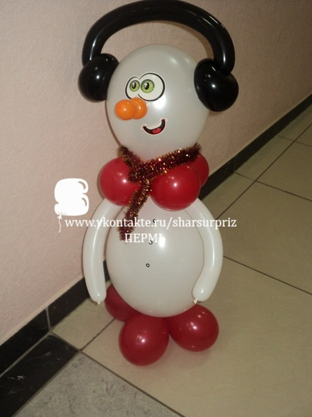 Снеговик из шаров своими руками фото